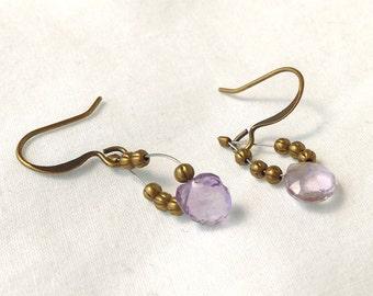 Faceted Pale Amethyst Gemstone Briolette Earrings , Antiqued Brass