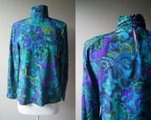 Vintage Paisley Blue Green High Neck Blouse Top - Small - Medium