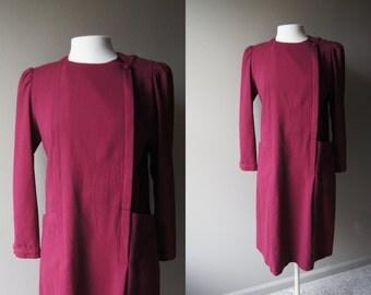 Vintage WOOL Dress Maroon Dress with Large Hip Pockets Wine Dress Sheath Dress Large Dress Warm Dress Winter Dress Long Sleeve  Dress
