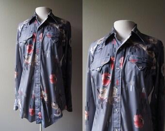 Vintage PEARL SNAP Shirt 70s Shirt Western Shirt Western Blouse Grey H Barc C Ranchwear Large Shirt Plus Size Pearl Snap 70's Western Shirt