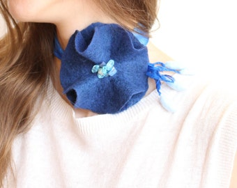 Flower Necklace, Choker Necklace, Wool Necklace, Something Blue, Bridesmaid Necklace, Navy Wedding Jewelry, Fashion Jewelry, Boho Necklace