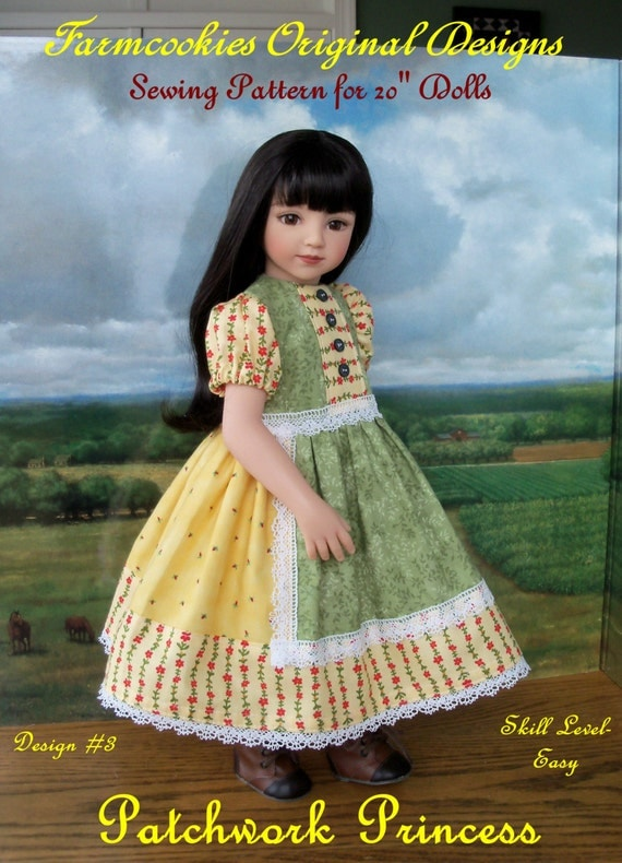 "PDF SEWING PATTERN  for 20"" Maru & Friends or 18"" American Girl Dolls / Patchwork Princess"