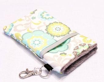 Custom fabric cell phone holder, iPhone 6 6s Plus, iPhone 7 plus, 5 5s 5c 4s 4 smartphone, wallet, case, purse, sleeve, pouch-Aqua Garden