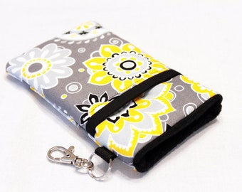 Custom fabric cell phone holder, iPhone 6 6s Plus, iPhone 7 plus, 5 5s 5c smartphone, wallet, case, purse, sleeve, pouch-Melancholy Flowers