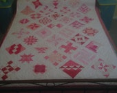 Pretty Pink Sampler Quilt, Single Bed Size