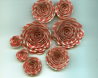 Coral Striped Rose Spiral Paper Flowers for Weddings, Bouquets, Events and Crafts