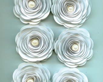 Handmade White Paper Roses with Light Ivory pearl for Events, Crafts, and Weddings