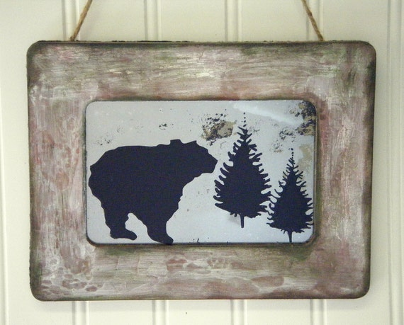 Rustic home decor grizzly bear in the forest by busterjustis for Rustic bear home decor