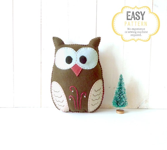 Stuffed Owl Sewing Pattern, Felt Owl Plush Softie, Woodland Owl Pattern, Owl Plushie, Owl Stuffie, Instant Download PDF