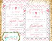 Girl Baby Shower Invite, Baby Shower invitation, digital invite, chevron shower invite, PDF invite, DIY invite, gray, pink (Item #87)