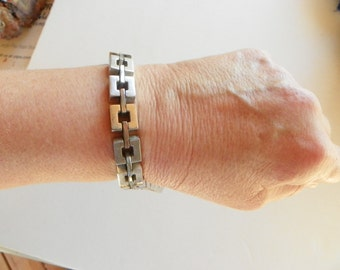 Vintage MONET Silver Tone Cube Link Bracelet