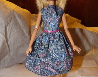 Modest blue floral paisley dress for Fashion Dolls - ed728