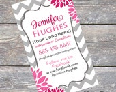 Business Card, DIY Printable - Fuchsia - PDF - Digital