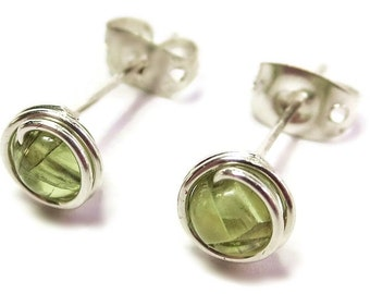 Natural Peridot Stone & Sterling Silver Wire-Wrapped Stud Post Earrings