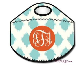 IKAT monogrammed lunch tote - with customizable pattern and monogram