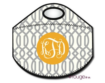TRELLIS REVERSE monogrammed lunch tote - with customizable pattern and monogram
