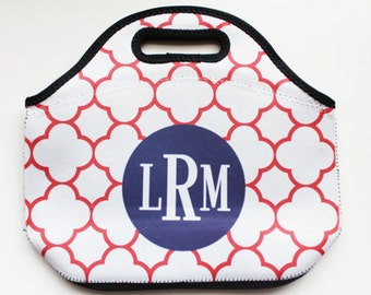 CLOVER REVERSE monogrammed lunch tote - with customizable pattern and monogram