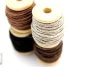 Hemp Twine Mini Spools, Shades of Brown, High Quality 1mm Hemp Crafting Cord