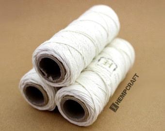 White Hemp Twine, .5mm Micro Macrame Cord, White Craft String
