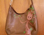 I am Groot: Upcycled hand painted brown leather purse