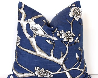 Modern Midnight Blue Decorative Designer Pillow Cover Accent floral chinoiserie white black bird cottage floral dwell indigo taupe navy
