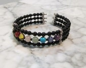 Full Spectrum Natural Stone and Crystal Chakra Cuff Bracelet