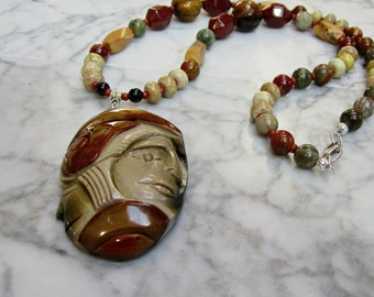 Brave Warrior  - Natural Earth Tone Stone and Crystal Lower Chakra Balancing Necklace with Hand Carved Jasper Pendant