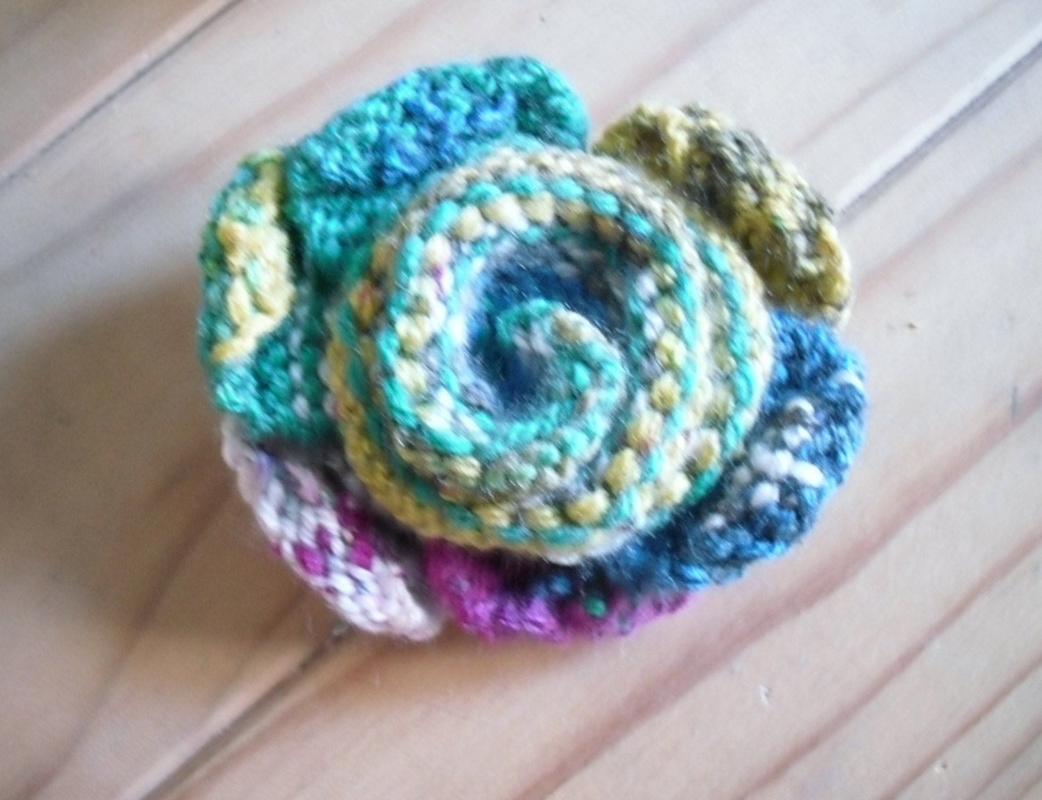 Free Knitted Flower Brooch Patterns : Knitted Flower Brooch Multi Coloured Flower Pin FREE UK