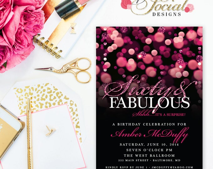 Surprise 60th Birthday Party Invitation with Hot Pink Glitter Bokeh Sixty and Fabulous PRINTABLE