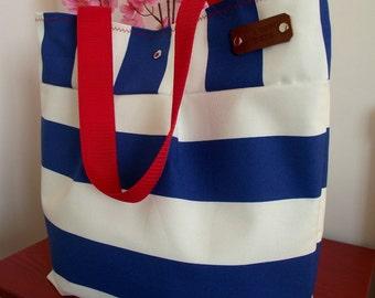 TEACHER BAG Tote Bag Striped Beach Bag Quilted Interior Diaper Bag Blue White Striped Hobo Shoulder Handbag 4 big Pockets