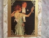 Retro Romantic Dancing Couple Handmade Card Love Music Birthday