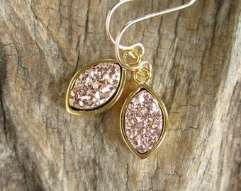 Rose Gold Druzy Earrings Titanium Drusy Quartz Drops Gold Bezel Set
