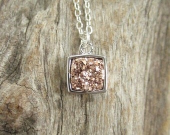 Rose Gold Druzy Necklace Cushion Cut Titanium Druzy Quartz Bezel Set
