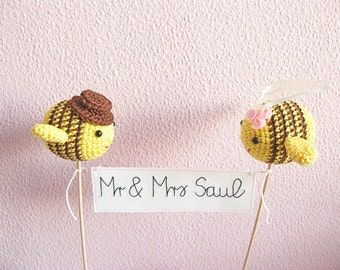 Mr and Mrs Cake Topper, Bee Wedding Theme, Bumble Bee Cake Topper