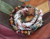 Upcycled Gypsy Boho Fiber Wrap Bracelet, Bohemian Silk Cord Hippie Bangle Cuff