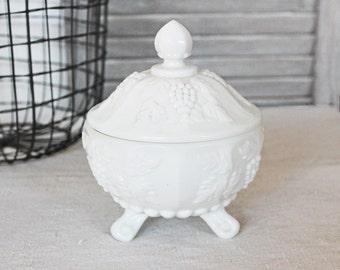 Lidded Milk Glass Bowl, Vintage Cottage Chic Home Decor