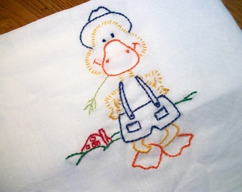 Dish Towel Gaggle of Geese Design Farmer Duck Flour Sack Towel Hand Embroidered Dish Towel Lint Free Dish Towel