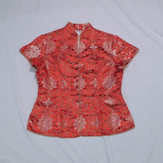 Cheongsam Top Vintage Chinese Blouse Womens Large Red short sleeve asian oriental mandarin style Floral Brocade Satin Like FREE USA Shipping
