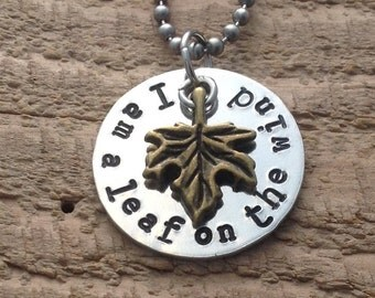 "Firefly ""I am a leaf on the wind"" necklace"