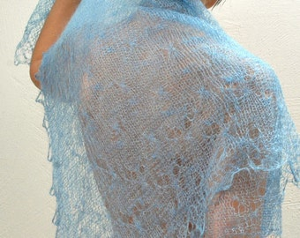 WOOL Lace Shawl ,CROCHETED Russian Handmade Goat Wool Neck Scarf Light Blue Warm Winter Neckwear