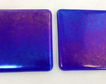 Fused Glass Coasters with Iridescent Sapphire Blue - set of 2