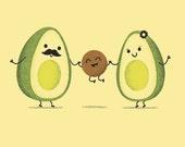 Avocado Family Art Print