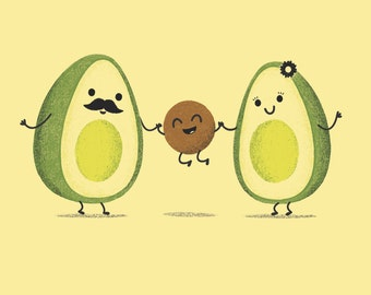 Avocado Family Art Print