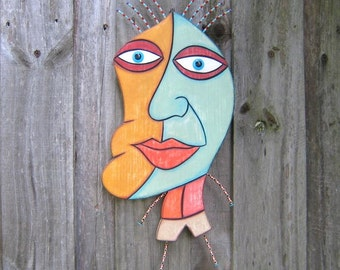 Moon Man, Original Wood Sculpture, Wood Carving, Wall Art, Wall Decor, by Fig Jam Studio