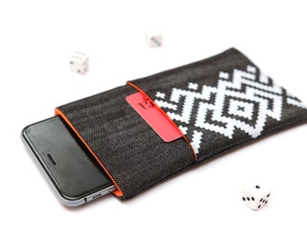 Nokia 6 sleeve, Nokia 5 sleeve case pouch dark jeans and orange with a pocket white ornament pattern
