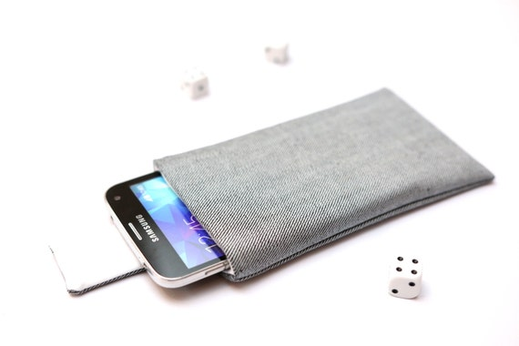 Galaxy S7 edge, S7, S6 edge+, S6 edge, S6, S5, S4, Alpha case cover sleeve handmade with magnetic closure light jeans denim and white