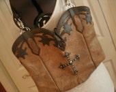 OOAK Eco-Friendly Tan Brown Leather Cowboy Boot Purse