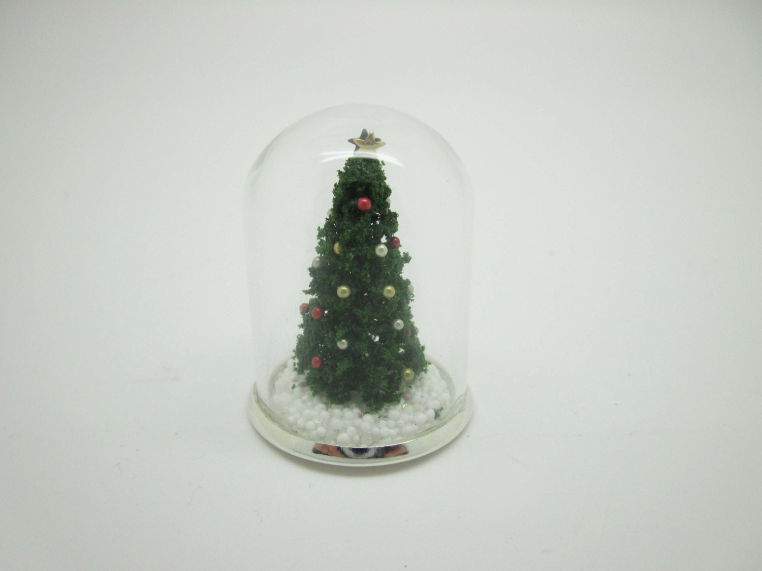Miniature glass dome with christmas tree by viliaminiature
