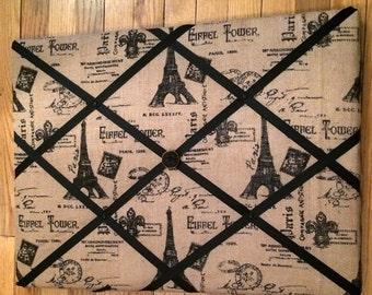 "SALE  Burlap Canvas Wrapped Memory Board  18"" X 24"""