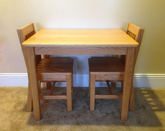 """Wood Children's Table (24""""H) and 2 Chairs Set (14"""" seat height) Honey Brown Oak Mission Style - Quality Childrens Furniture Made to Order"""